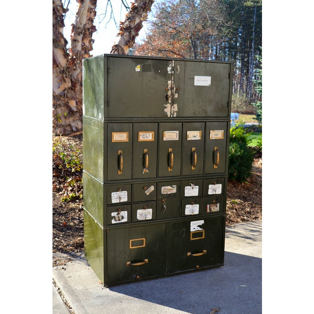 Vintage Industrial Green Metal Two Door Cabinet - Image 8 of 9