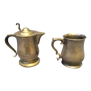Vintage Pewter Mug & Pitcher - A Pair
