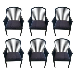 Andover Black Lacquer Armchairs by Stendig - S/6