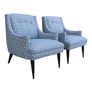 Gray and White Mid-Century Modern Armchairs - a Pair