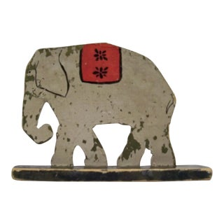 Antique Folk Art Elephant Carnival Game Piece