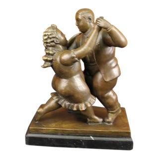 Bronze & Marble Dancing Couple Sculpture