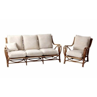Vintage Rattan Couch & Chair Set