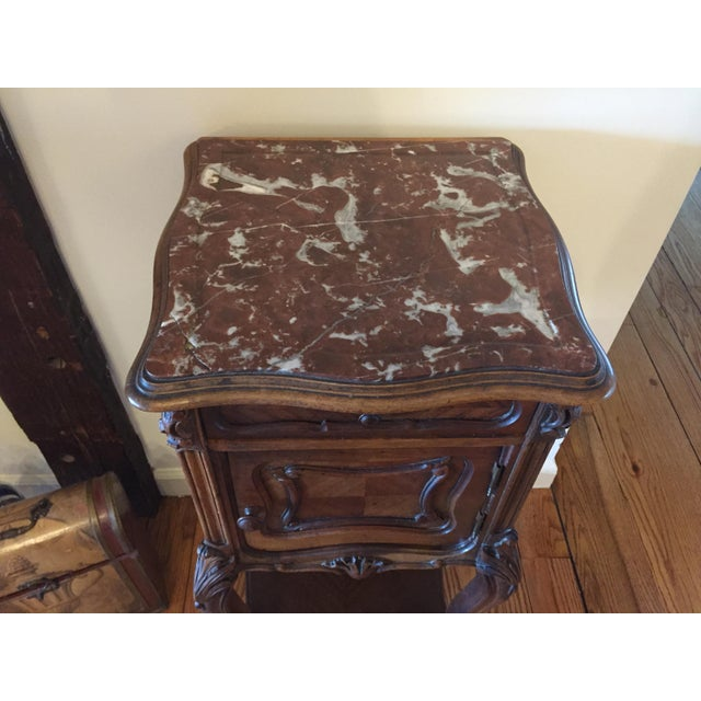French Marble Top Walnut Nightstand - Image 4 of 7