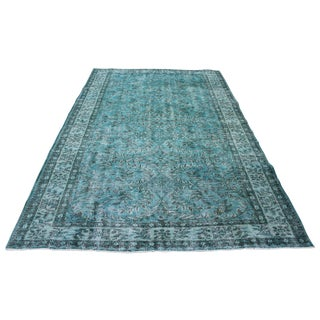 Turkish Turquoise Overdyed Rug - 4′10″ × 7′8″