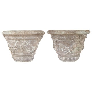 Garland Cement Planters - A Pair