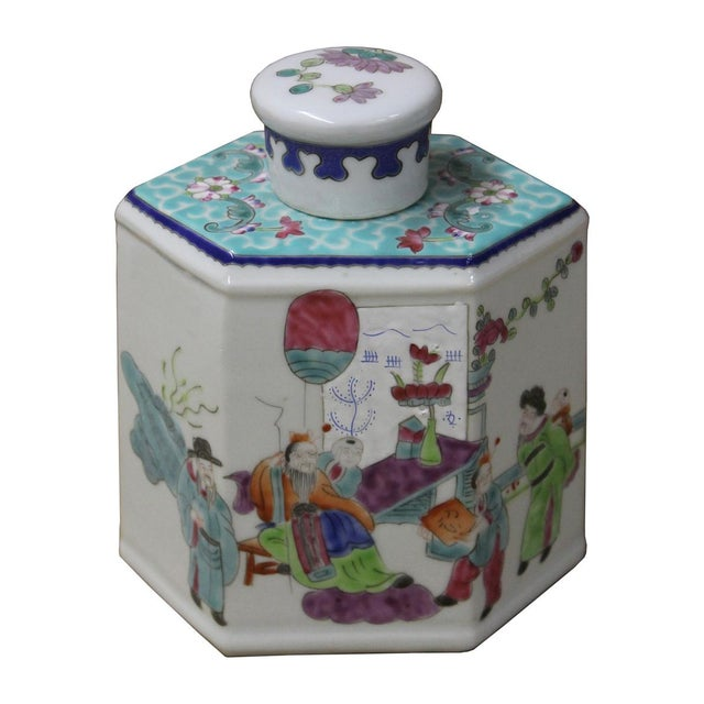 Chinese Family Harmony Porcelain Tea Jar - Image 2 of 5