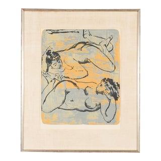 Framed Original Reclining Women Lithograph