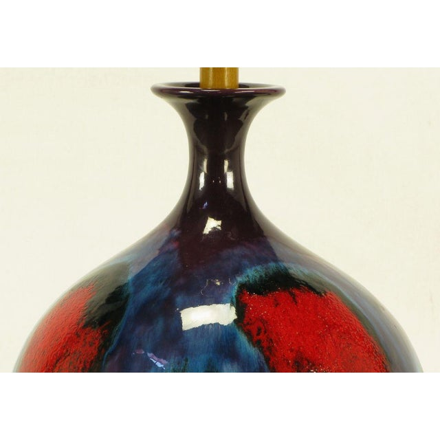 Large Blue, Black & Red Gourd Form Table Lamp - Image 4 of 8