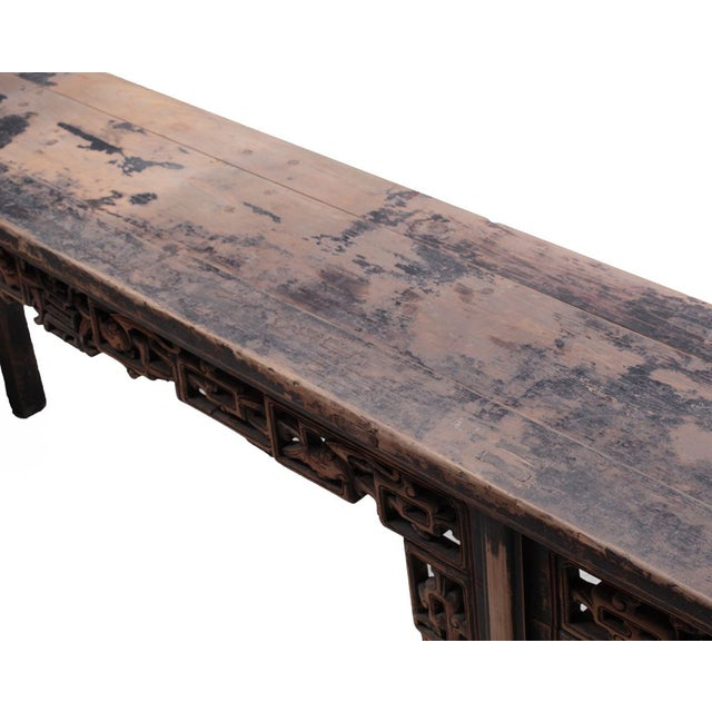 Chinese Rustic Brown Vintage Wood Side Altar Table - Image 5 of 7