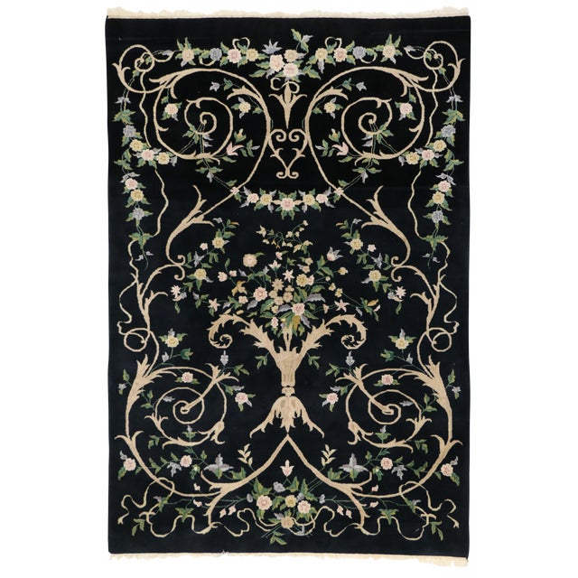 "Vintage Indian Black Field and Modern Aubusson Style Rug - 6' x 8'10"" - Image 1 of 4"