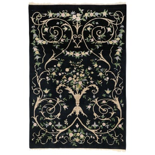 Vintage Indian Black Field and Modern Aubusson Style Rug - 6' x 8'10""