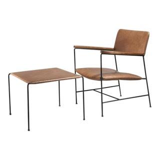Arden Riddle Iron and Naugahyde Chair with Ottoman, USA, 1960s