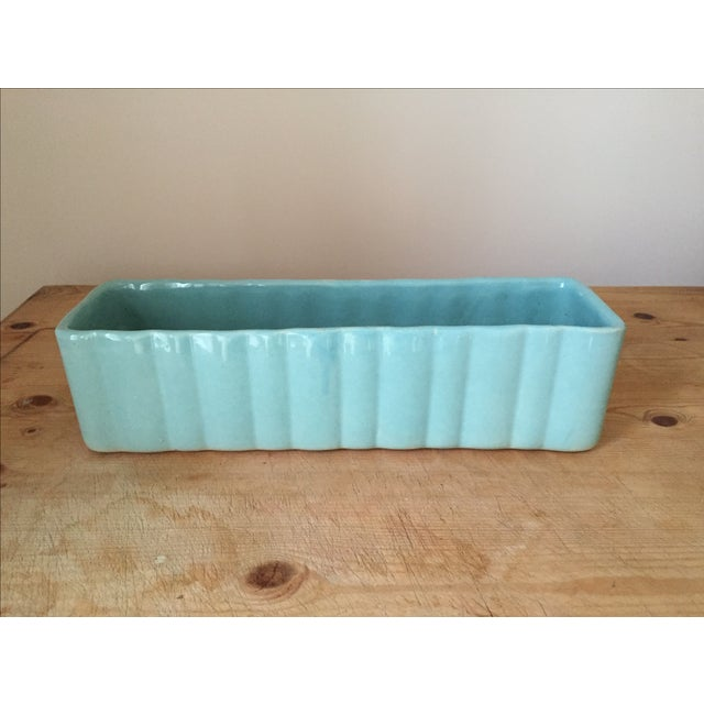 Mint Green Oblong Ceramic Planter - Image 2 of 3