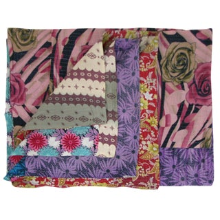 Rose and Violet Vintage Kantha Quilt