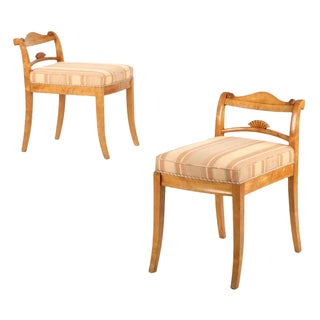 Biedermeier Style Carved Birch Lowback Chairs - A Pair