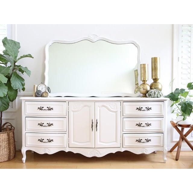 french provincial vintage 9 drawer dresser mirror chairish. Black Bedroom Furniture Sets. Home Design Ideas