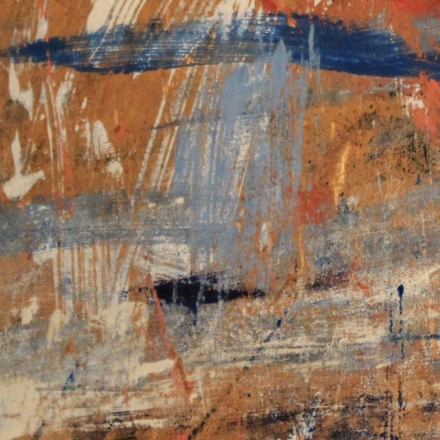 Red, White & Blue Abstract Oil Painting - Image 4 of 5