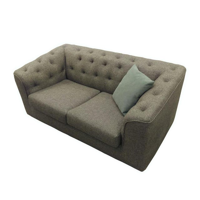 Image of Charcoal Button Back Sofas - A Pair