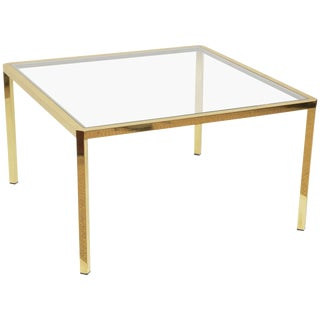 Italian Square Brass and Glass Coffee Table
