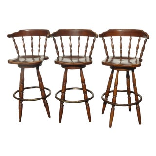 French Country Wood Swivel Bar Stools - Set of 3