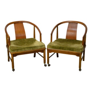Edward Wormley Dunbar Style Mid-Century Barrel Back Chairs - A Pair