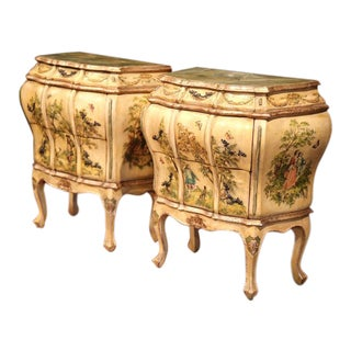 Mid-20th Century Italian Carved Hand-Painted Bedside Tables - A Pair