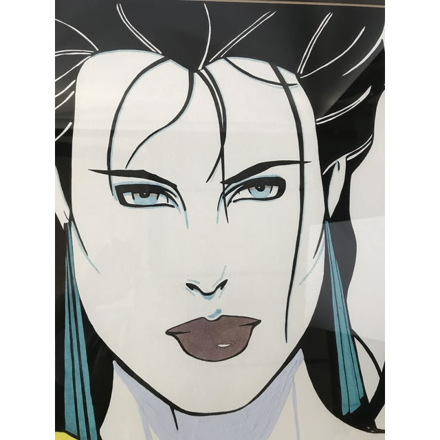 Patrick Nagel Inspired Original Painting - Woman in Yellow Sweater - Image 4 of 11