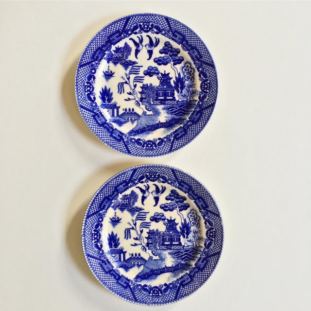"Image of Antique ""Blue Willow"" Pattern Plates - A Pair"
