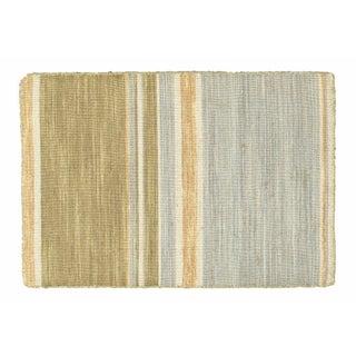 Green, Tan & Blue Striped Dhurrie - 2' x 3'