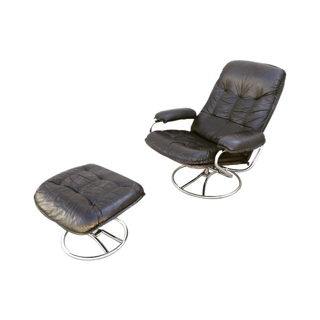 Mid-Century Italian Leather Chair and Ottoman - Image 1 of 11