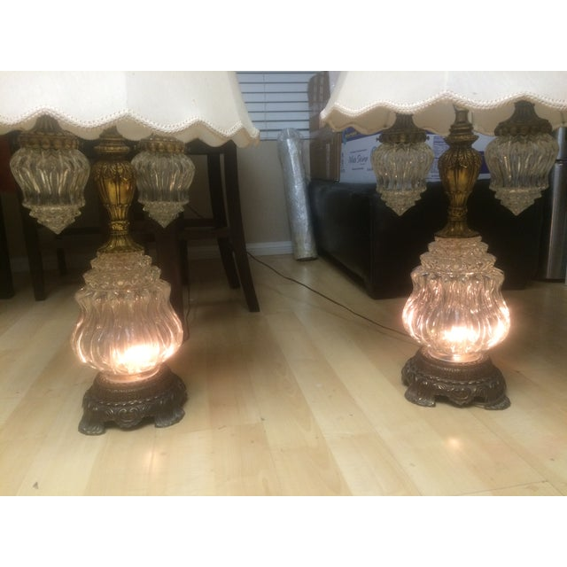 Vintage Brass & Crystal Lamps - Pair - Image 8 of 11