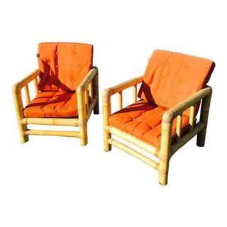 Mid-Century Modern Mangku of Indonesia Bamboo Club Chairs