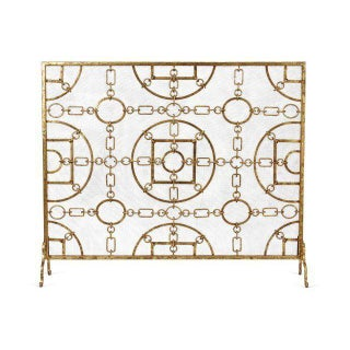 Single-Panel Gold Fire Screen