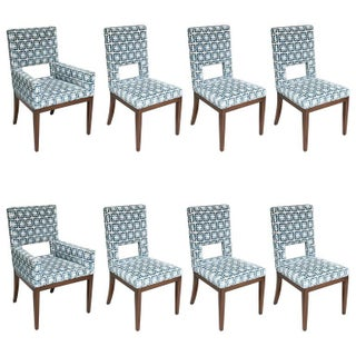 Set of Eight Dining Chairs, Upholstered in Blue and White Fabric with Mahogany Legs