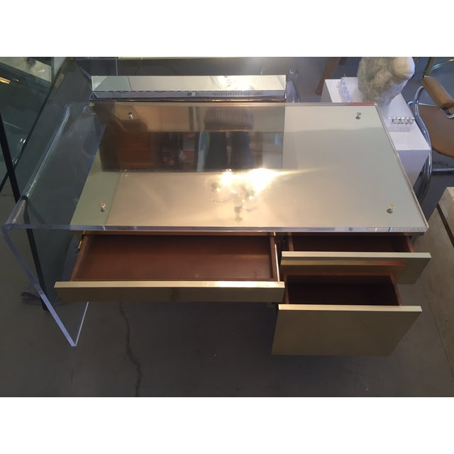 Vintage 1970s Lucite & Brass Desk - Image 10 of 10