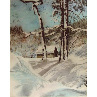 Mountain Cabin Landscape Watercolor Painting