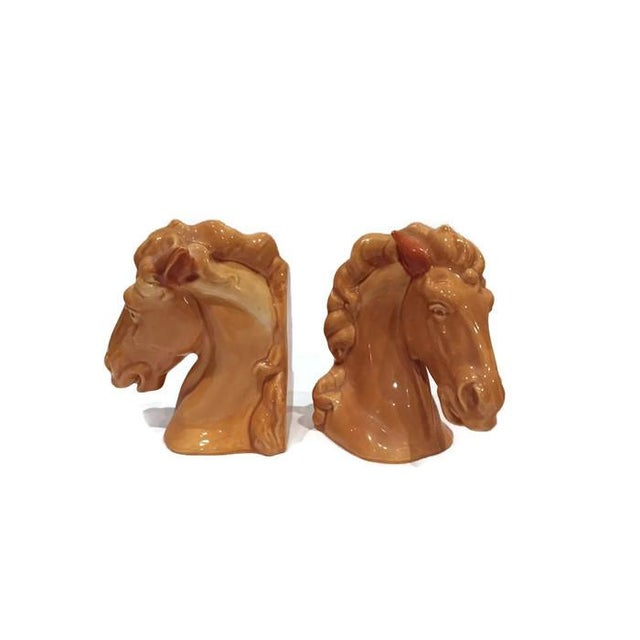 Large Vintage Ceramic Horse Head Bookends - Image 6 of 6
