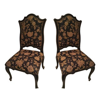 Upholstered Nailhead Trim Chairs - A Pair