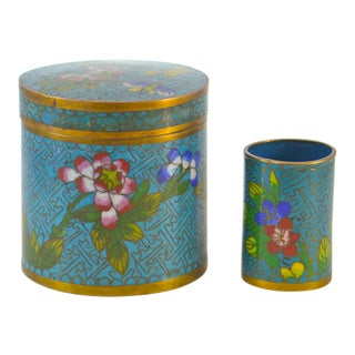 1920s Aqua Enamel Over Copper Cloisonne Jars - A Pair