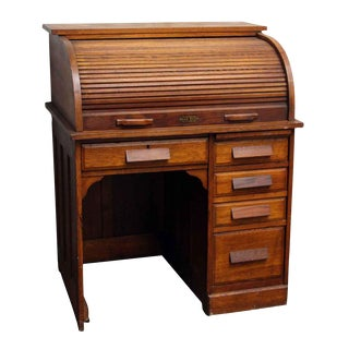 Vintage Solid Oak Roll Top Desk With Recessed Panels