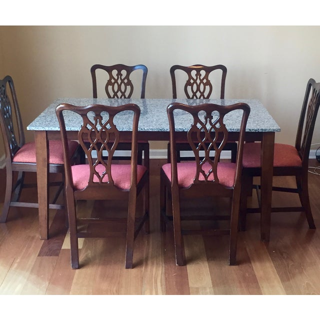 Granite Top Dining Set Set Of 7 Chairish