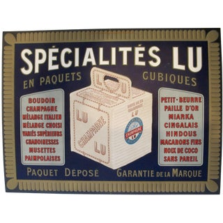 Vintage French Advertising Carton Biscuits LU 1905