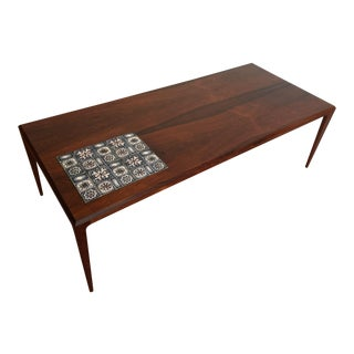 Johannes Andersen Rosewood Coffee Table With Tile Inlay