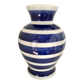 Blue & White Striped Vase