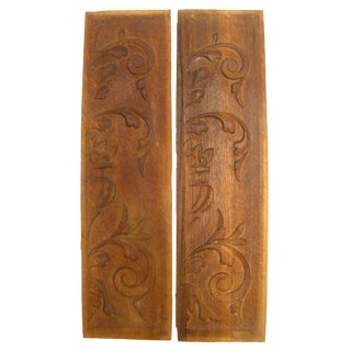 Vintage French Carved Wood Panels, A Pair