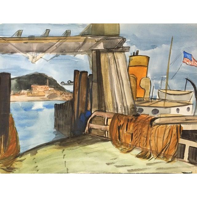 San Francisco Bay Alcatraz Mid Century Watercolor - Image 2 of 4
