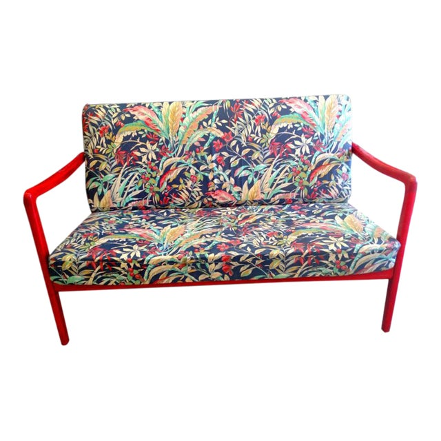 1960's Ole Wanscher Danish Red Painted Teak Settee - Image 2 of 2