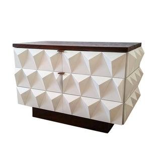 Mid-Century Brutalist Diamond Front Cabinet