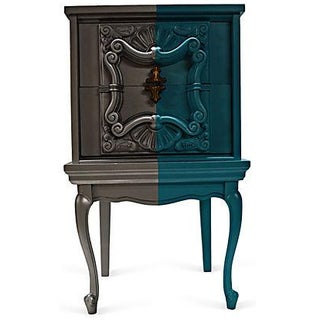 Silver & Turquoise Two Drawers Nightstand